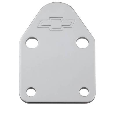 Proform - Fuel Pump Block-Off Plate - Chrome with Bowtie Logo - Fits SB Chevy V8 Engines - Image 1