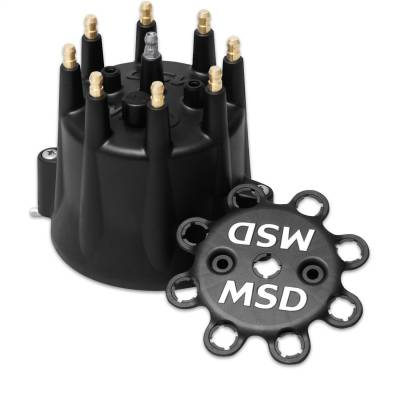 MSD - Dist Cap, Black Chevy V8, HEI, Retainer - 84333 - Image 1