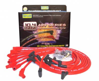 Ignition Wire and Related Components - Spark Plug Wire Set - Taylor Cable - 409 Spiro-Pro race fit red - 79258
