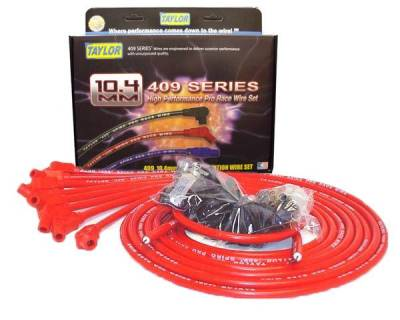 Ignition Wire and Related Components - Spark Plug Wire Set - Taylor Cable - 409 Spiro-Pro univ 8 cyl 135 red - 79253