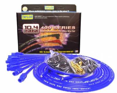 Ignition Wire and Related Components - Spark Plug Wire Set - Taylor Cable - 409 Spiro-Pro univ 8 cyl 180 blue - 79655