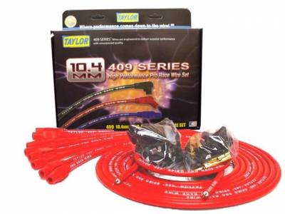 Ignition Wire and Related Components - Spark Plug Wire Set - Taylor Cable - 409 Spiro-Pro univ 8 cyl 180 red - 79255