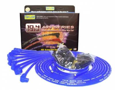 Ignition Wire and Related Components - Spark Plug Wire Set - Taylor Cable - 409 Spiro-Pro univ 8 cyl 90 blue - 79651