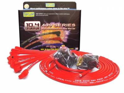 Ignition Wire and Related Components - Spark Plug Wire Set - Taylor Cable - 409 Spiro-Pro univ 8 cyl 90 red - 79251