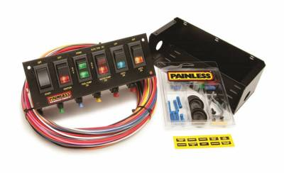 Switches - Multi Purpose Switch Panel Kit - Painless Wiring - 6-Switch Fused Panel w/all necessary wiring/hardware - 50302