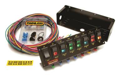 Switches - Multi Purpose Switch Panel Kit - Painless Wiring - 8-Switch Fused Panel w/all necessary wiring/hardware - 50303