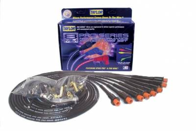 Ignition Wire and Related Components - Spark Plug Wire Set - Taylor Cable - 8mm Spiro-Pro 8 cyl univ Hemi black - 75089