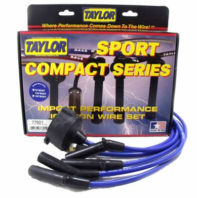Ignition Wire and Related Components - Spark Plug Wire Set - Taylor Cable - 8mm Spiro-Pro custom 4 cyl blue - 77601