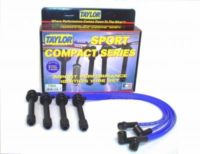 Ignition Wire and Related Components - Spark Plug Wire Set - Taylor Cable - 8mm Spiro-Pro custom 4 cyl blue - 77606