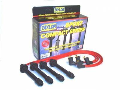Ignition Wire and Related Components - Spark Plug Wire Set - Taylor Cable - 8mm Spiro-Pro custom 4 cyl red - 77206