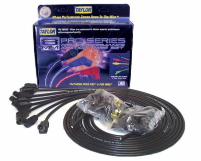 Ignition Wire and Related Components - Spark Plug Wire Set - Taylor Cable - 8mm Spiro-Pro univ 8 cyl 135 black - 73053