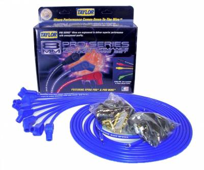 Ignition Wire and Related Components - Spark Plug Wire Set - Taylor Cable - 8mm Spiro-Pro univ 8 cyl 135 blue - 73653