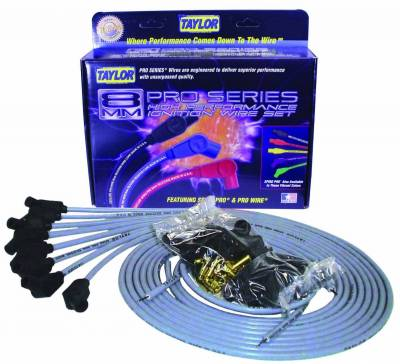Ignition Wire and Related Components - Spark Plug Wire Set - Taylor Cable - 8mm Spiro-Pro univ 8 cyl 135 gray - 53853