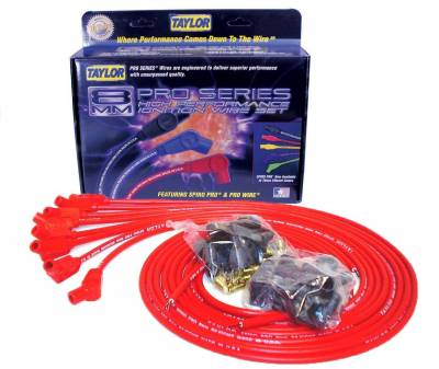 Ignition Wire and Related Components - Spark Plug Wire Set - Taylor Cable - 8mm Spiro-Pro univ 8 cyl 135 red - 73253