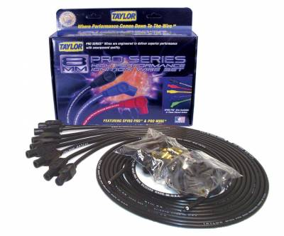 Ignition Wire and Related Components - Spark Plug Wire Set - Taylor Cable - 8mm Spiro-Pro univ 8 cyl 180 black - 73055