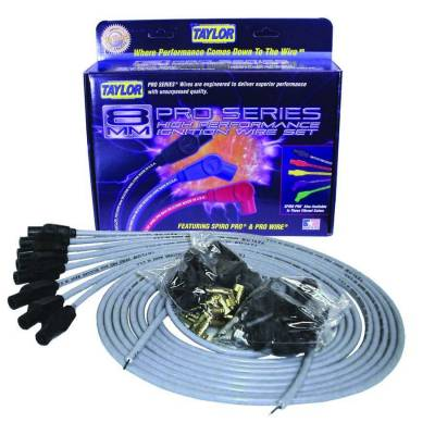 Ignition Wire and Related Components - Spark Plug Wire Set - Taylor Cable - 8mm Spiro-Pro univ 8 cyl 180 gray - 53855