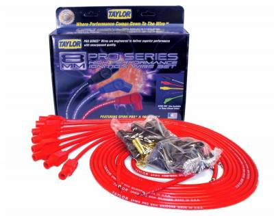 Ignition Wire and Related Components - Spark Plug Wire Set - Taylor Cable - 8mm Spiro-Pro univ 8 cyl 180 red - 73255