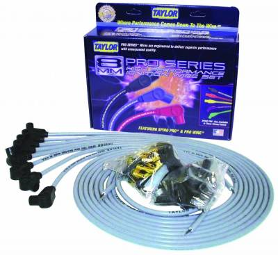 Ignition Wire and Related Components - Spark Plug Wire Set - Taylor Cable - 8mm Spiro-Pro univ 8 cyl 90 gray - 53851