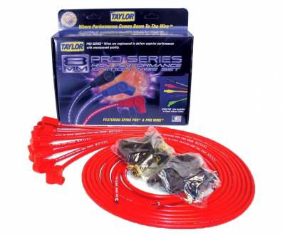 Ignition Wire and Related Components - Spark Plug Wire Set - Taylor Cable - 8mm Spiro-Pro univ 8 cyl 90 red - 73251