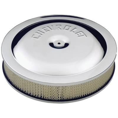 Carburetion - Air Cleaner Assembly - Proform - Air Cleaner Kit - Chrome - Embossed Chevy Logo - 14 In. Diameter - With Center Nut