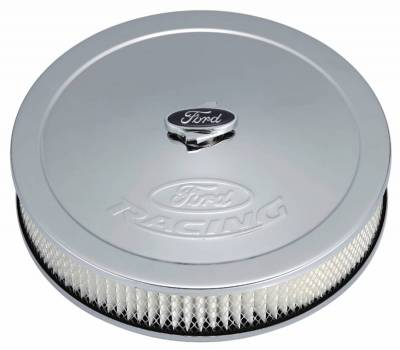 Carburetion - Air Cleaner Assembly - Proform - Air Cleaner Kit - Chrome - Embossed Ford Logo - 13 Inch Diameter With Center Nut