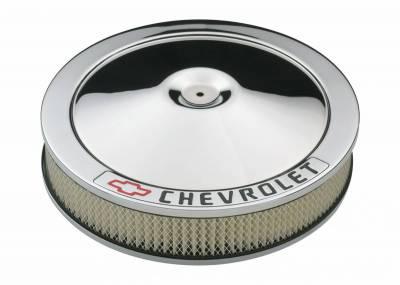 Carburetion - Air Cleaner Assembly - Proform - Carburetor Air Cleaner Kit - 14 Inch Diameter - 'Chevrolet' Lettering - Chrome