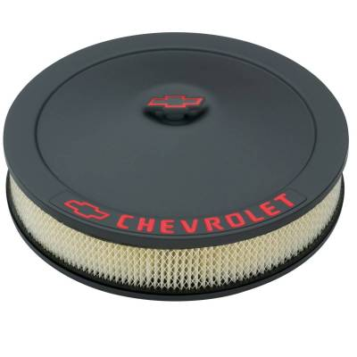 Engine Air Cleaner Kit - 14 Inch Dia - Black Crinkle - Chevy Lettering w/Bowtie Nut