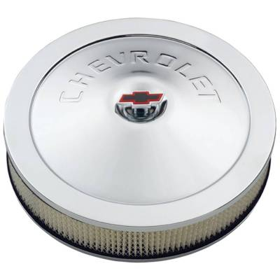Carburetion - Air Cleaner Assembly - Proform - Engine Air Cleaner Kit - 14 Inch Diam - Chrome - Chevy Lettering with Bowtie Nut