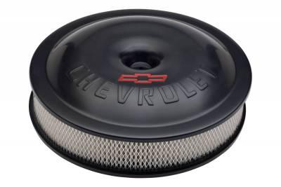 Engine Air Cleaner Kit - Super-Light - 14 Inch - Aluminum - Black - Bowtie/Chevy Logo