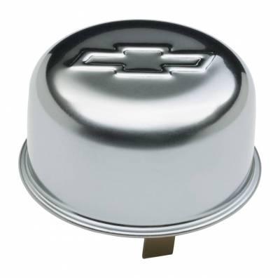 Crankcase Ventilation System - Engine Crankcase Breather Cap - Proform - Engine Oil Breather Cap - Push-On Style - 1.82 Hole - Embossed Bowtie Logo - Chrome