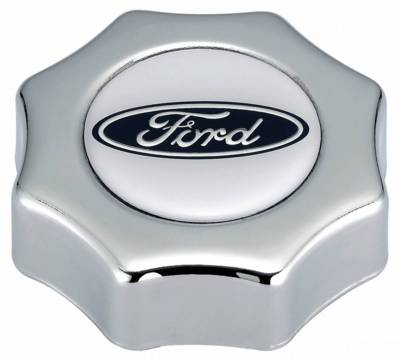 Proform - Engine Oil Filler Cap - Screw-In Type - Blue Oval Ford Logo - Chrome