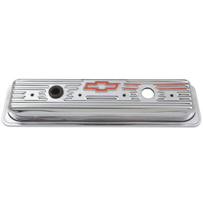 Proform - Engine Valve Covers - Center Bolt Style - Steel - Chrome w/Bowtie Logo - SB Chevy