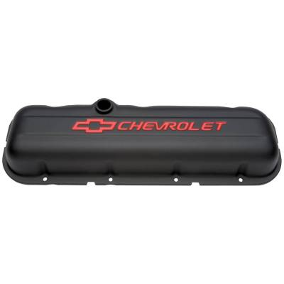 Cylinder Block Components - Engine Valve Cover - Proform - Engine Valve Covers - Stamped Steel - Short - Black - w/ Bowtie Logo - Fits BB Chevy