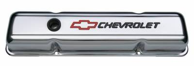 Proform - Engine Valve Covers - Stamped Steel - Short - Chrome - w/ Bowtie Logo - Fits SB Chevy