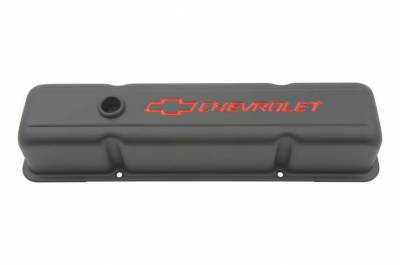 Proform - Engine Valve Covers - Stamped Steel - Tall - Black - w/ Bowtie Logo - Fits SB Chevy