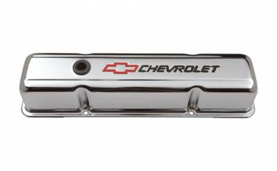 Cylinder Block Components - Engine Valve Cover - Proform - Engine Valve Covers - Stamped Steel - Tall - Chrome - w/ Bowtie Logo - Fits SB Chevy