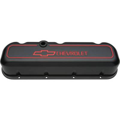 Proform - Engine Valve Covers - Tall Style - Die Cast - Black with Bowtie Logo - BB Chevy
