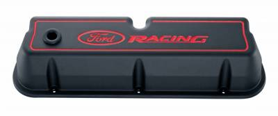 Cylinder Block Components - Engine Valve Cover - Proform - Engine Valve Covers - Tall Style - Die Cast - Black with Ford Logo - For SB Ford