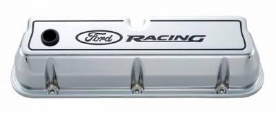 Cylinder Block Components - Engine Valve Cover - Proform - Engine Valve Covers - Tall Style - Die Cast - Chrome with Ford Logo - For SB Ford