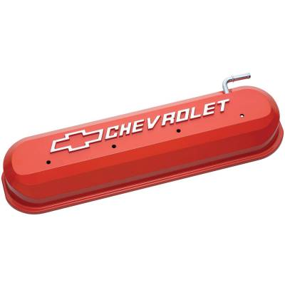 Proform - Engine Valve Covers - Tall Style - Die Cast - Orange with Bowtie Logo - LS Engines