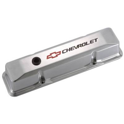 Proform - Engine Valve Covers - Tall Style - Die Cast - Polished with Bowtie Logo - SB Chevy