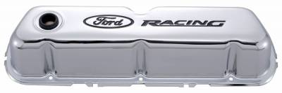 Cylinder Block Components - Engine Valve Cover - Proform - Engine Valve Covers - Tall Style - Steel - Chrome with Ford Logo - For SB Ford