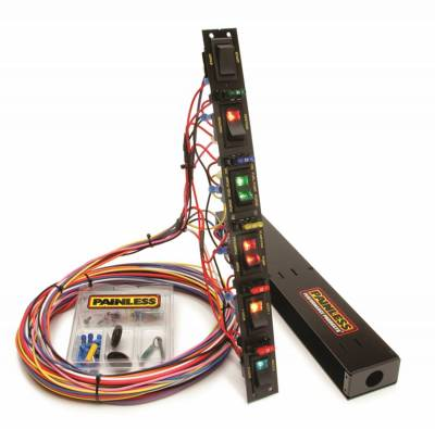 Switches - Multi Purpose Switch Panel Kit - Painless Wiring - Fused Dragster Vertical 6 Switch Panel w/Wiring/Hardware - 50506