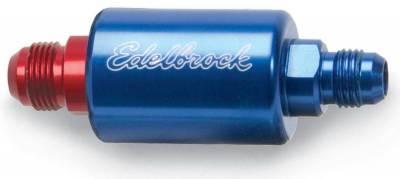 Filters - Fuel Filter - Edelbrock - High Flow Billet Aluminum Fuel Filter in Blue Finish - 8130