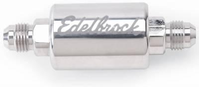 Filters - Fuel Filter - Edelbrock - High Flow Billet Aluminum Fuel Filter in Polished Finish - 8129