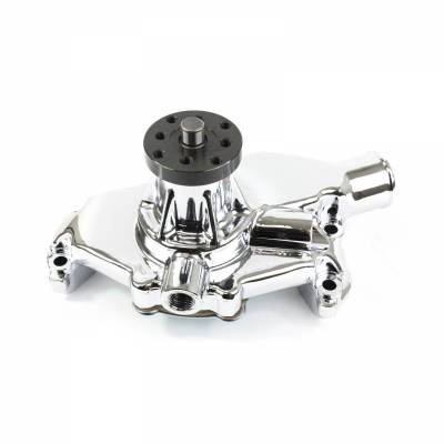 Top Street Performance - Mechanical Water Pump - Aluminum, Chrome - Chevrolet Small Block Short Neck - HC8011C