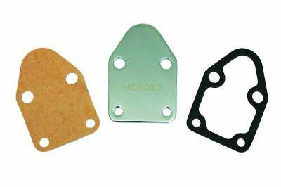 Fuel Pumps and Related Components - Fuel Pump Block-Off Plate - Moroso - Moroso Fuel Pump Plate, Small Block Chevy, Chr - 65393