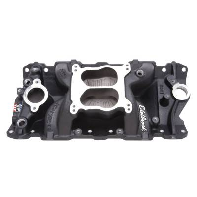 Cylinder Block Components - Engine Intake Manifold - Edelbrock - Performer Air-Gap Intake Manifold for 1955-86 Small-Block Chevy, Black Finish - 26013