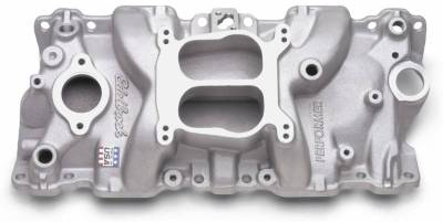 Cylinder Block Components - Engine Intake Manifold - Edelbrock - Performer Intake Manifold for 1987-95 Small Block Chevy, Satin Finish - 2104