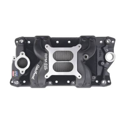 Cylinder Block Components - Engine Intake Manifold - Edelbrock - Performer RPM AIR-Gap Small Block Chevy Black Intake Manifold - 75013